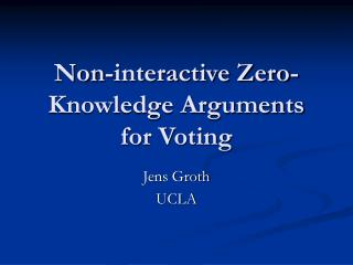 Non-interactive Zero-Knowledge Arguments for Voting