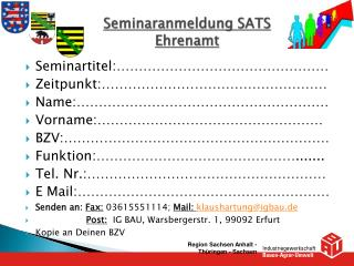 Seminaranmeldung SATS Ehrenamt