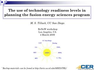 The use of technology readiness levels in planning the fusion energy sciences program