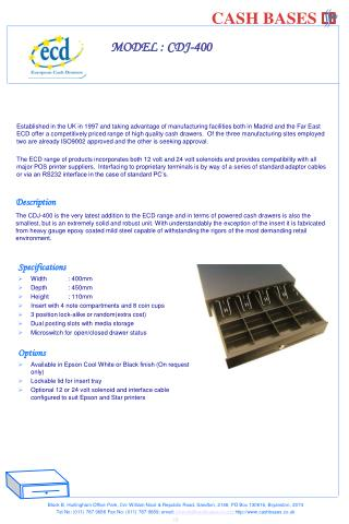 Specifications Width: 400mm  Depth: 450mm  Height: 110mm