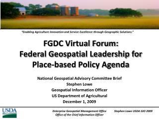 FGDC Virtual Forum: Federal Geospatial Leadership for Place-based Policy Agenda