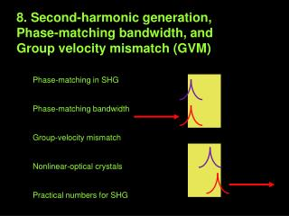 8. Second-harmonic generation,  Phase-matching bandwidth, and  Group velocity mismatch (GVM)