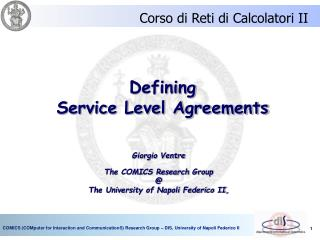 Defining Service Level Agreements
