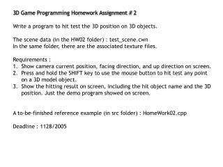 3D Game Programming Homework Assignment # 2
