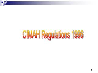 CIMAH Regulations 1996