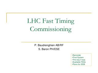 LHC Fast Timing Commissioning