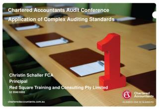 Chartered Accountants Audit Conference Application of Complex Auditing Standards