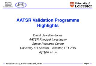 AATSR Validation Programme Highlights