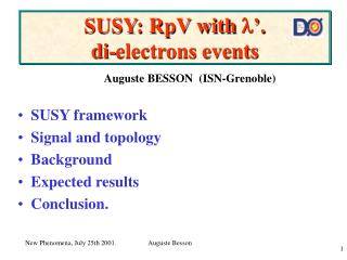 SUSY: RpV with  '.  di-electrons events