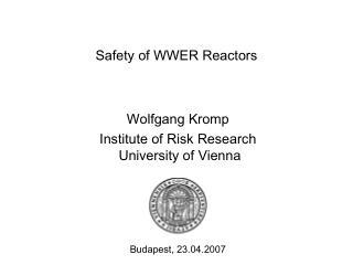 Safety of WWER Reactors