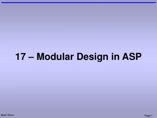 17 – Modular Design in ASP