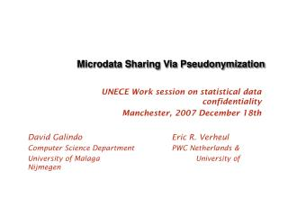 Microdata Sharing Via Pseudonymization