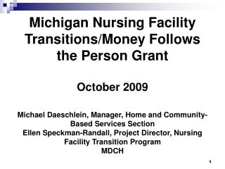 Michigan Nursing Facility Transitions