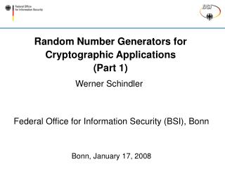 Random Number Generators for Cryptographic Applications (Part 1)