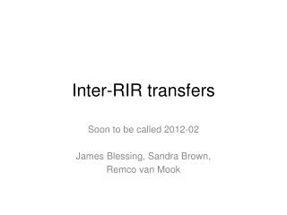 Inter-RIR transfers
