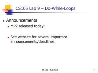 CS105 Lab 9 – Do-While-Loops