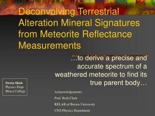 Deconvolving Terrestrial Alteration Mineral Signatures from Meteorite Reflectance Measurements