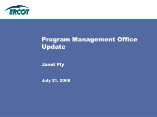 Program Management Office Update