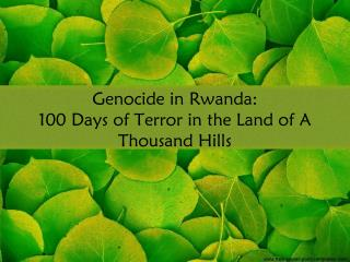 Genocide in Rwanda: 100 Days of Terror in the Land of A Thousand Hills