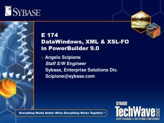 E 174  DataWindows, XML  XSL-FO in PowerBuilder 9.0