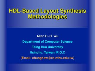 HDL-Based Layout Synthesis Methodologies