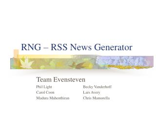 RNG – RSS News Generator