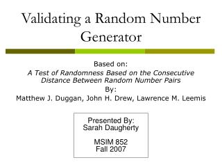 Validating a Random Number Generator