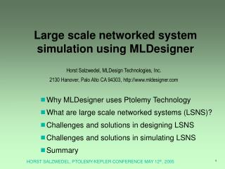 Large scale networked system simulation using MLDesigner