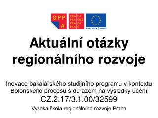 Aktuální otázky regionálního rozvoje