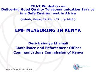 EMF MEASURING IN KENYA