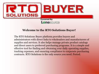 Welcome to the RTO Solutions Buyer!