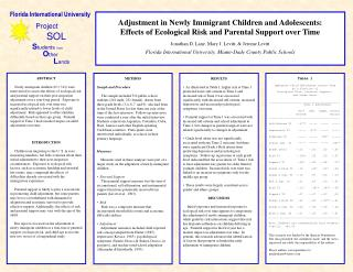 Table 1 Immigrant Child Adjustment across Time as a Function of