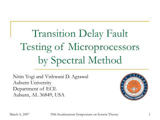 Transition Delay Fault Testing of Microprocessors by Spectral Method