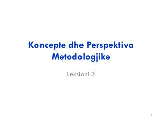 Koncepte dhe Perspektiva Metodologjike