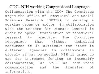 CDC- NIH working Congressional Language
