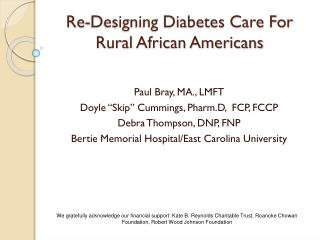 Re-Designing Diabetes Care For Rural African Americans