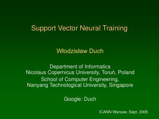 Support Vector Neural Training