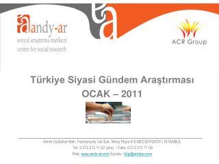 Türkiye Siyasi Gündem Araştırması OCAK – 2011