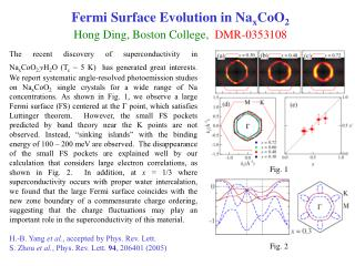 Fermi Surface Evolution in Na x CoO 2 Hong Ding, Boston College,   DMR-0353108