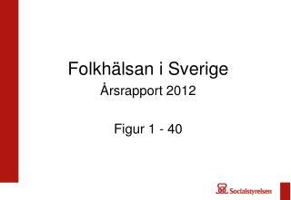 Folkhälsan i Sverige Årsrapport 2012 Figur 1 - 40