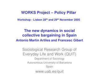WORKS Project � Policy Pillar Workshop - Lisbon 28 th  and 29 th  November 2005