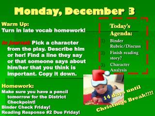 Monday, December 3
