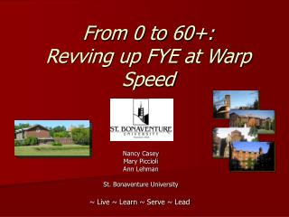 From 0 to 60+:   Revving up FYE at Warp Speed