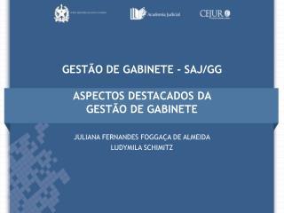 GESTÃO DE GABINETE - SAJ/GG ASPECTOS DESTACADOS DA  GESTÃO DE GABINETE