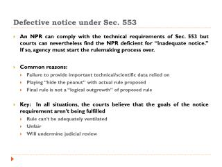 Defective notice under Sec. 553