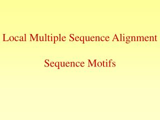 Local Multiple Sequence Alignment Sequence Motifs