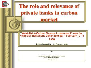The role and relevance of private banks in carbon market