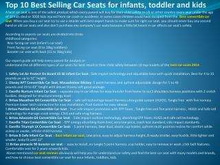 Top 10 Best Selling Car Seats for infants, toddler and kids