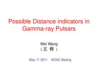 Possible Distance indicators in Gamma-ray Pulsars