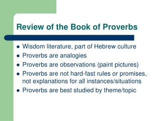Review of the Book of Proverbs
